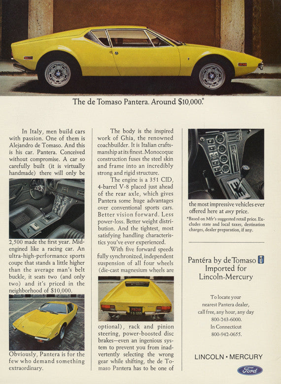 1971 Ford Alejandro de Tomaso Pantera Sports Car Ad Vintage Advertisement Print Garage Wall Art Gift for Him