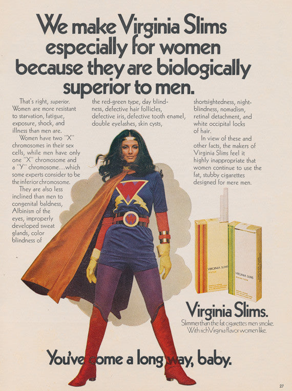 1971 Virginia Slims Cigarette Ad Wonder Woman Photo Vintage Tobacco Advertising Sexist Smoking Advertisement Retro Super Hero Wall Art