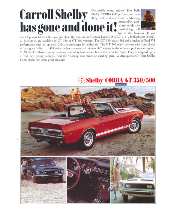 Gift For 50th: 1967 Ford Mustang Convertible Coupe Carol Shelby Cobra GT 350/500-KR Red Muscle Car Poster Print Retro Automotive Advertisement Art - Gift for Him