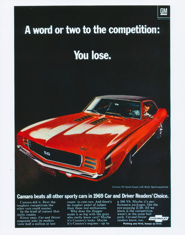 1969 Chevrolet Camaro SS Muscle Car Vintage Chevy Advertisement Poster Print Automobile Car Dealership Garage Decor - Gift for Him