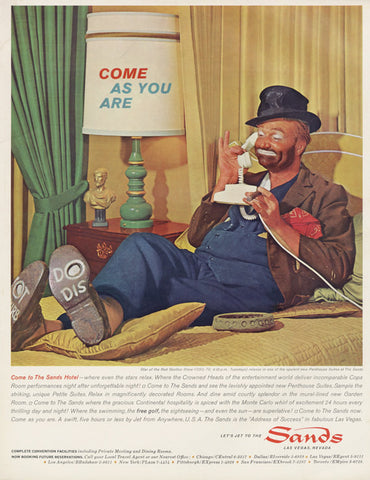 Sands Hotel Las Vegas Nevada 1963 Vintage Advertisement Print Clown Red Skelton Illustration Art Retro Travel Advertising Print Wall Decor
