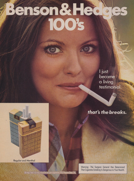 1977 Benson & Hedges 100's Cigarette Ad Broken Cigarette Sexy Woman Photo Print Advertisement Retro Bar Wall Art Decor
