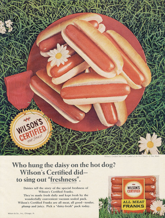 1966 Wilson's Hot Dogs Ad Meat Franks Vintage Food Advertisement Grass Picnic Photo Retro Kitchen Wall Art Decor