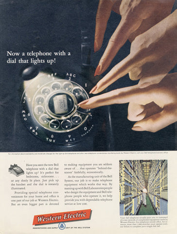 1955 Western Electric Rotary Phone Ad Bell Telephone with Lit Dial Vintage Phone Technology Advertisement Print Mid Century Office Wall Art Decor