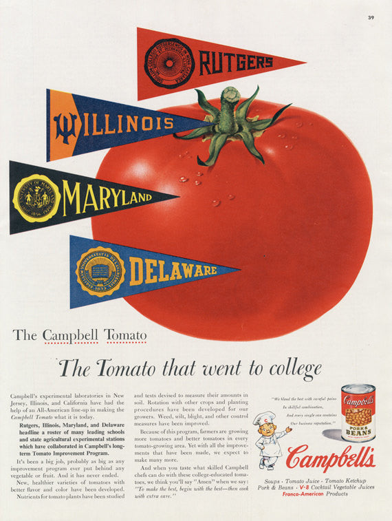 "1955 Campbell's Pork & Beans Ad ""The Tomato That Went to College"" Vintage Food Advertisement Art Print Retro Kitchen / Restaurant Wall Art"