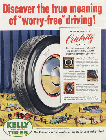 1955 Kelly Springfield Tires Ad White Wall Tires Vintage Automotive Advertising Art Print Man Cave Garage Wall Decor
