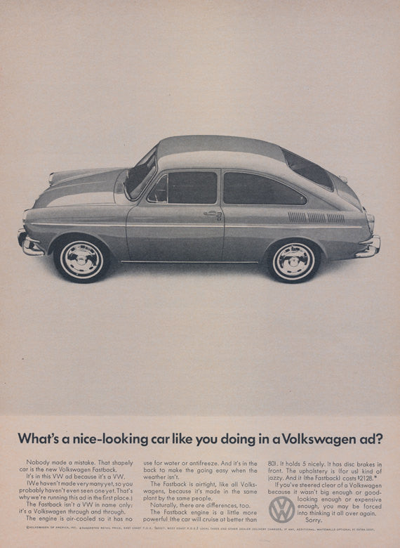 1966 Volkswagen Fastback Car Ad VW Automobile Advertisement Print Garage Wall Art Decor