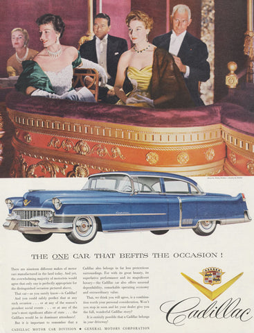 1954 Cadillac Car Ad Ladies at Opera Vintage Automobile Advertising Art Print Wall Art Decor