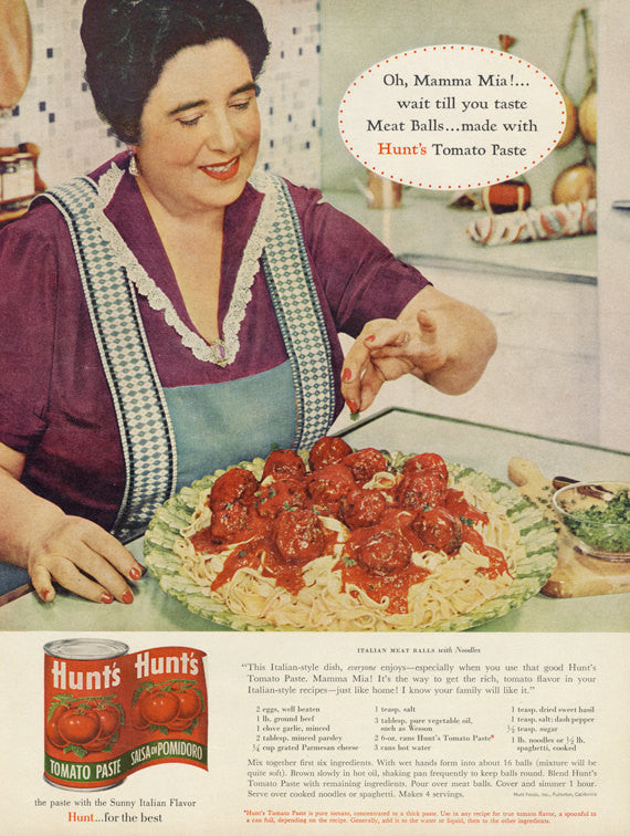 1961 Hunt's Tomato Paste Ad Vintage Food Advertising Print Mamma Mia Italian Mother Cooking Photo Retro Kitchen / Restaurant Wall Art Decor