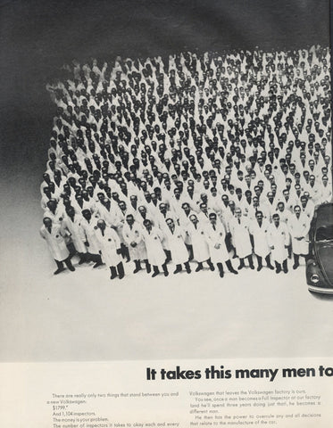 1969 Volkswagen Beetle Car Ad VW Bug Rare Vintage Advertisement Print Inspectors Photo Wall Art Decor