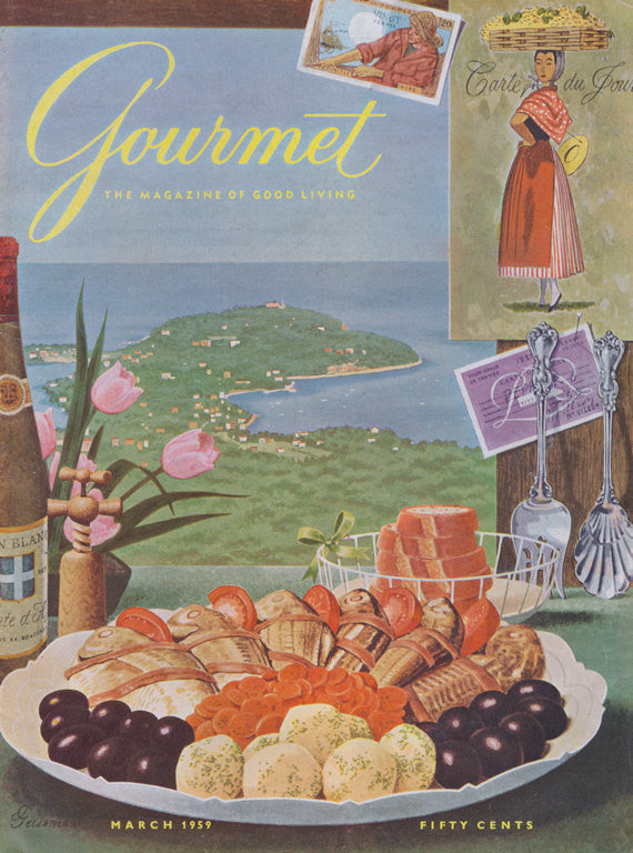 Vintage 1959 Gourmet Magazine Cover Art Mediterranean Food Illustration Kitchen Print Wall Decor
