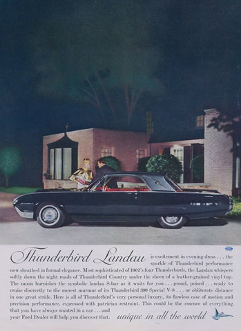 1962 Ford Thunderbird Landau Car Ad Classic Automobile Photo Print Advertisement Mad Men Wall Art Decor