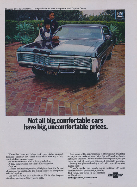 1969 Chevrolet Caprice Coupe Car Ad OJ Simpson & Wife Marquerite Photo Print Chevy Automobile Vintage Advertisement Wall Art Decor