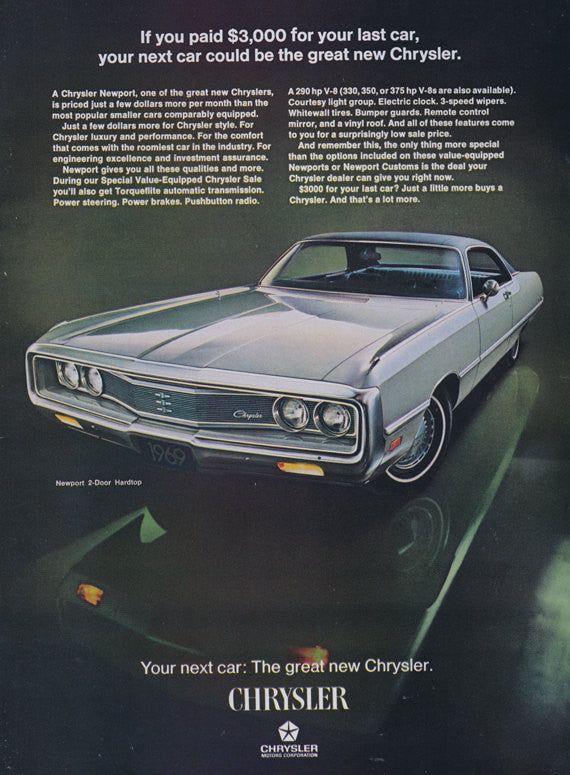 1969 Chrysler Newport Car Ad Newport 2-Door Hardtop Classic Automobile Photo Print Advertisement Art Garage Wall Decor