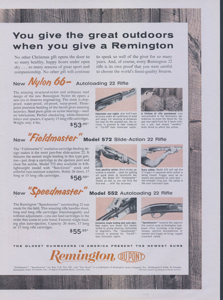 1969 Remington Rifle Ad Guns Advertisement Print Nylon 66 Autoloading 22 Rifle, Model 572 Slide-Action 22 Rifle Hunting Man Cave Wall Art
