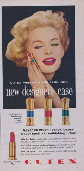 1958 Cutex Lipstick Ad 50s Make-up Advertisement Print Designer Case w/ Sapphire Ruby Emerald Jewels Vanity / Bathroom / Salon Wall Art