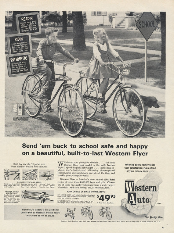 Western Flyer Bicycle Ad 1963 Western Auto Bike Advertisement Back to School Print Chidren Bike Riding Photo Wall Art Decor