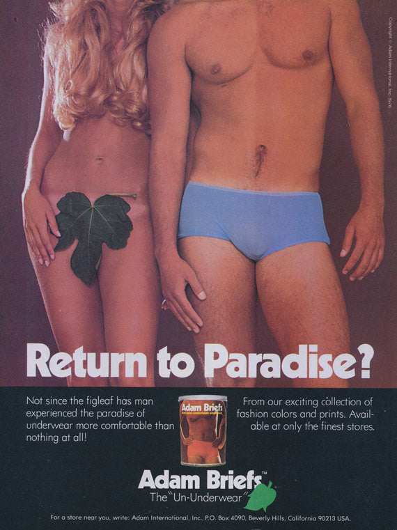 1976 Adam Briefs Men's Underwear Ad 70s Fashion Advertisement Print Adam & Eve Photo Wall Art Decor