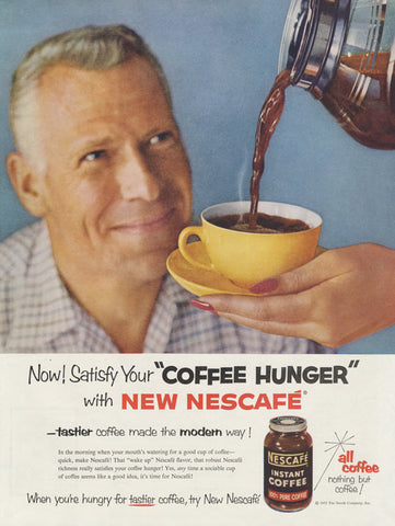 "1955 Nescafe Coffee Ad ""Coffee Hunger"" Man Photo Vintage Advertisement Print Retro Kitchen Diner Restaurant Wall Art Decor"