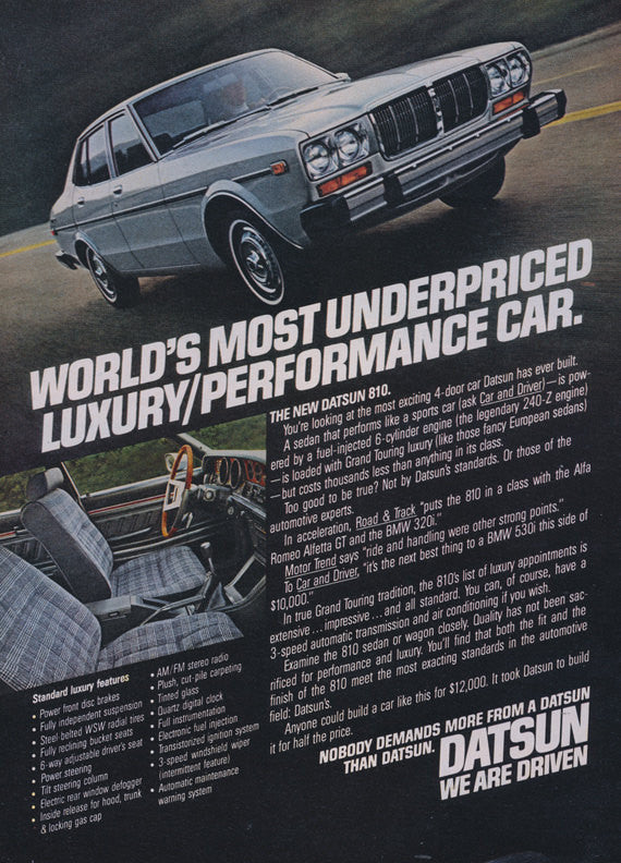 1978 Datsun 810 Car Ad Vintage Automobile Advertisement Print Wall Art Decor
