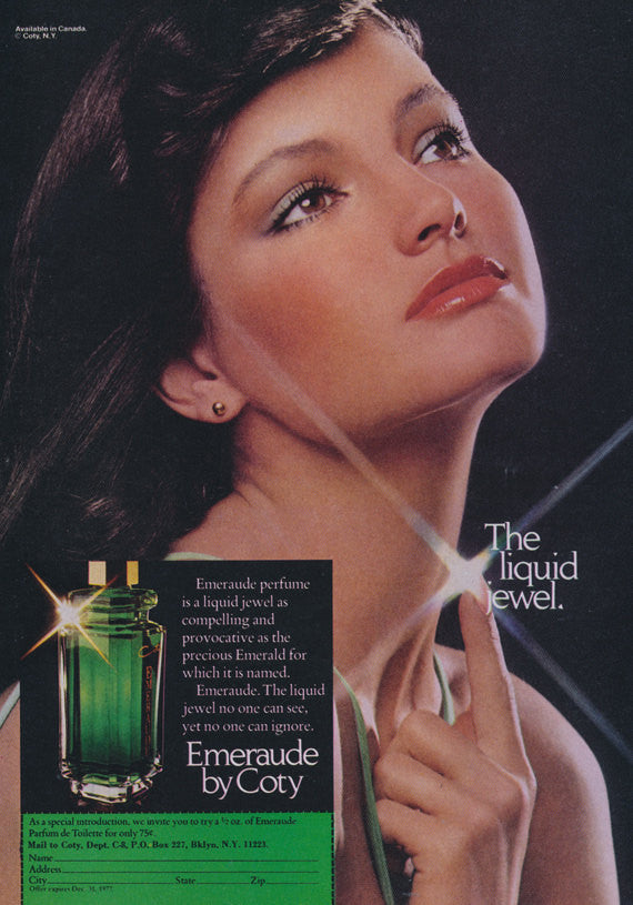 Emeraude by Coty Perfume Ad 1977 Magazine Advertisement Print The Liquid Jewel Bathroom Vanity Wall Art Decor
