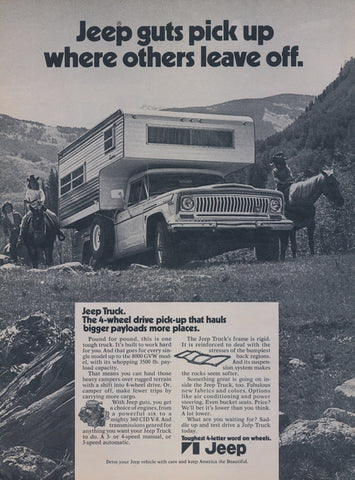 1971 Jeep Truck with Camper Top Ad Vintage Advertisement Print Horseback Riders Photo Wall Art Decor