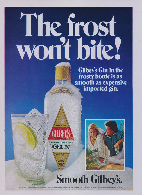 1977 Gilbey's Gin Ad Vintage Liquor Advertisement Print Frosty Bottle & Cocktail Photo Bar Pub Wall Art Decor