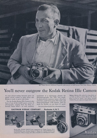 1957 Kodak Retina IIIc Camera Ad Vintage Film Technology Advertisement Print Mr. Pedro Silvera Photo Wall Art Decor