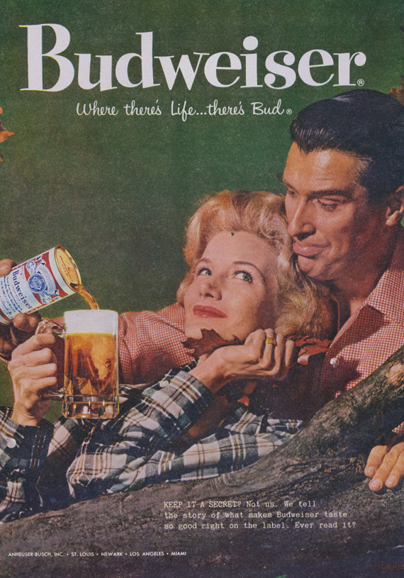 1958 Budweiser Beer Ad Retro Couple Autumn Fall Photo Rare Vintage Advertisement Print Bar Restaurant Game Room Mad Men Wall Art Decor
