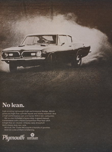 1965 Plymouth Cuda 340 Muscle Car Vintage Advertisement 2-Page Print Garage Wall Art Decor