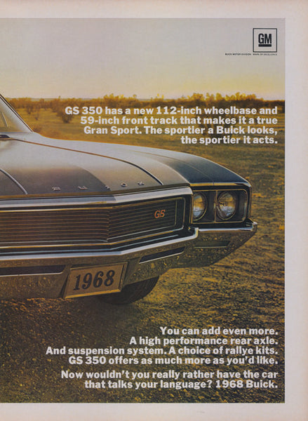 1968 Buick GS 350 Car Ad Vintage Advertisement Print Garage Man Cave Wall Decor Art Print