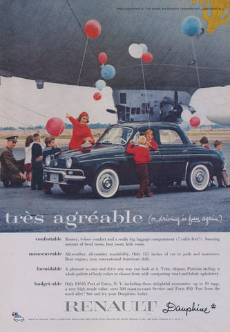 1958 Renault Dauphine Car Ad Classic Black French Automobile Balloons Photo Vintage Advertisement Print Wall Art Decor