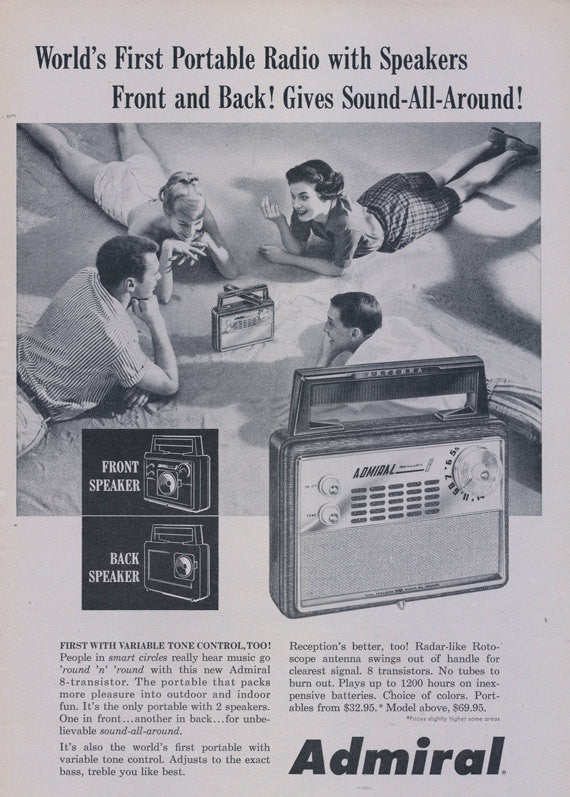 1958 Admiral Portable Radio with Speakers Front and Back Vintage Advertisement Print Wall Art Home Decor