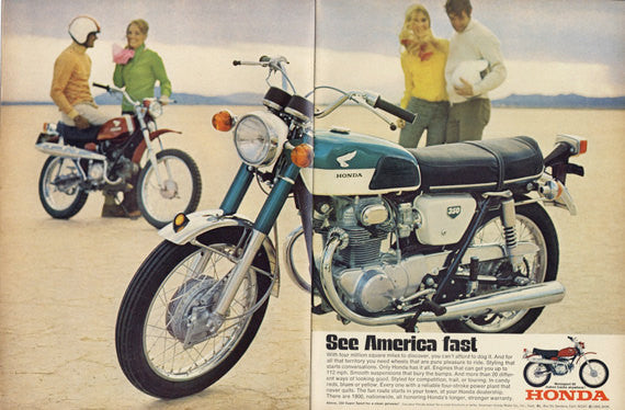 1969 Honda Motorsport 90 Motorbike Ad Vintage 350 Motorcycle Advertisement Print Wall Art Decor