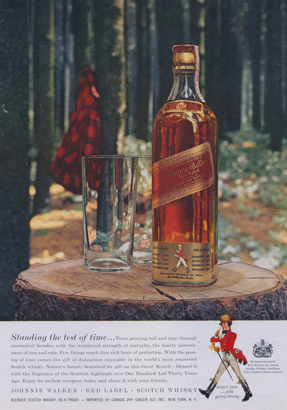 1957 Johnnie Walker Red Label Scotch Whiskey Ad Whiskey Bottle Tree Stump Forest Photo Print Liquor Advertisement Bar / Pub Wall Decor