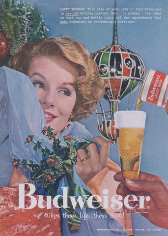 1957 Budweiser Beer Ad Christmas Holiday Woman Photo Vintage Advertisement Print Retro Bar Kitsch Wall Art Decor