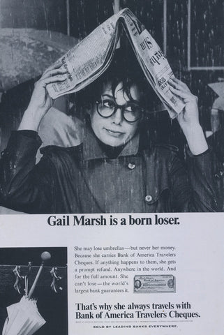 "1967 Bank of America Travelers Cheques Vintage Advertisement Gail Marsh ""Born Loser"" Print Ad Office Wall Art"