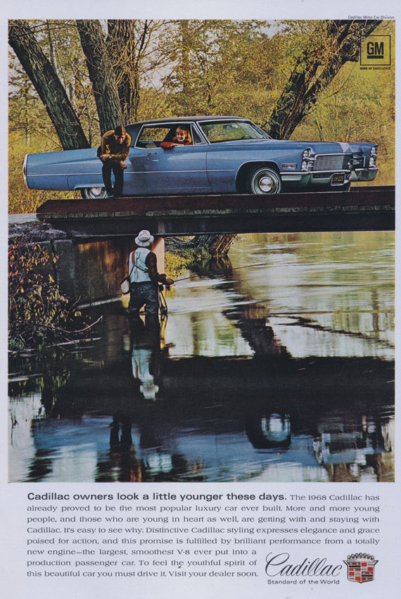 1968 Cadillac Car Ad Fisherman Photo Vintage Automobile Advertisement Print Wall Art Decor