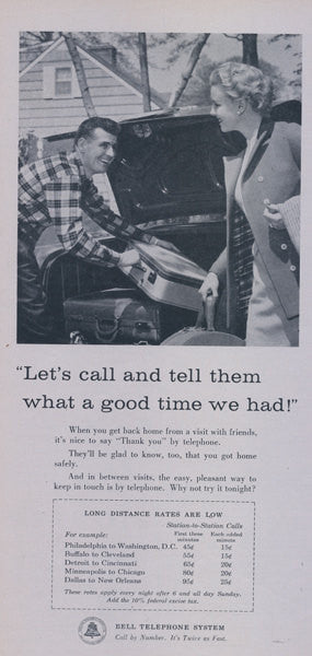 1957 Bell Telephone System Ad Couple Vacation Trip Photo Vintage Phone Company Advertisement Print Wall Art Decor