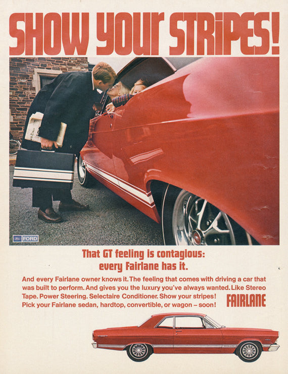 "1967 Ford Fairlane Car Ad ""Show Your Stripes"" Vintage Red Automobile Photo Mad Men Era Print Advertisement Unique Gift Idea"