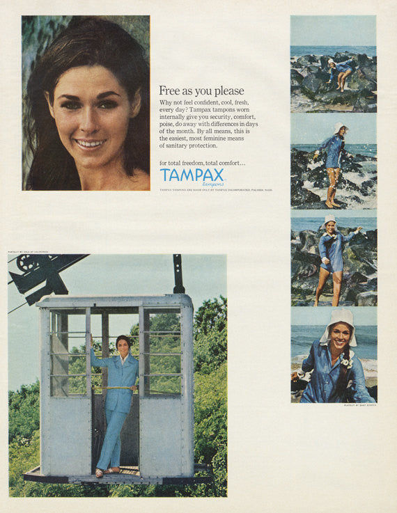 1967 Tampax Tampons Ad Feminine Hygiene Products Vintage Advertisement Print Woman Sky Lift Photo Bathroom Wall Art Decor