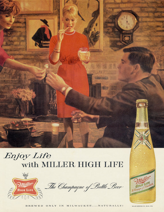 1963 Miller High Life Beer Ad Friends Party Photo Mad Men Vintage 60s Advertisement Print Retro Bar / Game Room Wall Art Decor