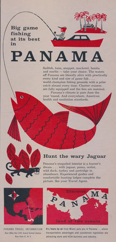 1957 Panama Travel & Tourism Ad Big Game Fishing Hunting Jaguar Vintage Advertisement Print Wall Art Decor
