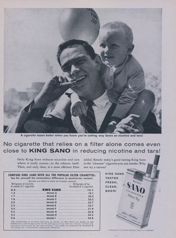 1957 King Sano Cigarettes Ad Smoking Father with Toddler Son Piggyback Ride Photo Vintage Tobacco Advertising Print Wall Art Decor