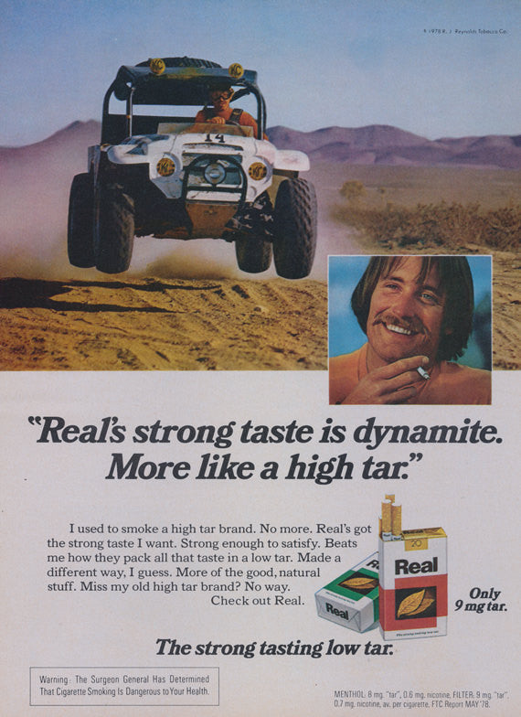 1978 Real Cigarettes Ad 70's Man Off-Roading Photo Vintage Tobacco Advertisement Print Retro Wall Art Decor
