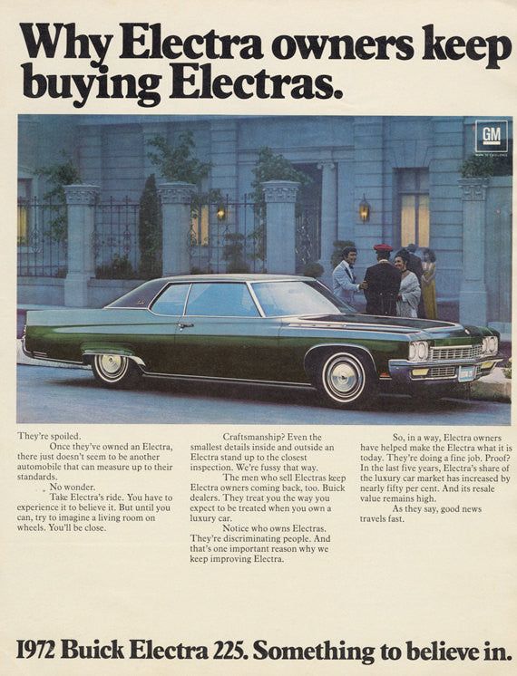 1972 Buick Electra 225 Classic Car Advertisement Print Garage Wall Decor Art