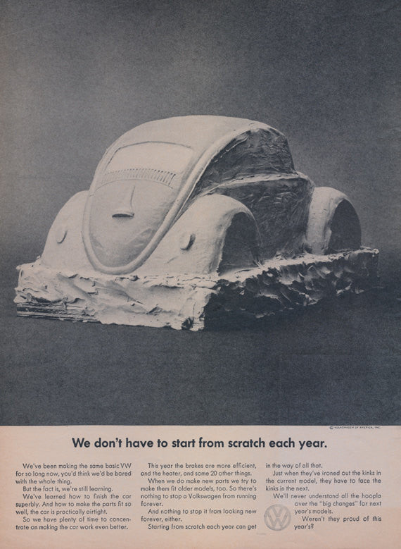 Rare 1964 Volkswagen Beetle Car Ad Clay Sculpture VW Bug Vintage Advertisement Print Wall Art Decor