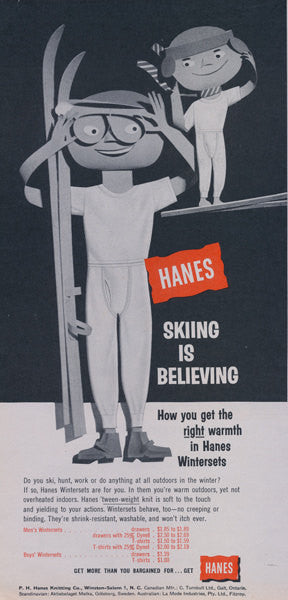 1957 Hanes Men's Underwear Ads Vintage Boxers Advertisement Art Print 1950's Fashion Winter Holiday Wall Decor 2-Pages