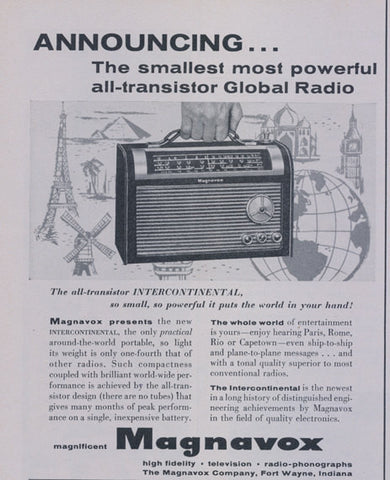1957 Magnavox All-Transistor Global Radio Vintage Advertisement Sound Technology Print Wall Art