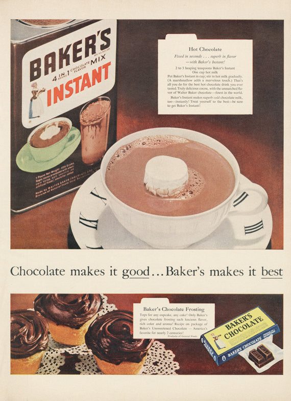 1955 Baker's Hot Chocolate Cocoa Ad Vintage Food Beverage Advertisement Art Print Kitchen / Bakery / Restaurant Wall Decor